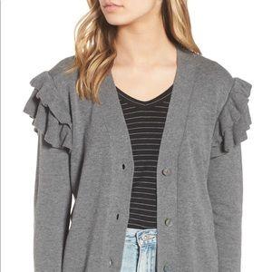 Hinge Double Ruffle Grey Cardigan